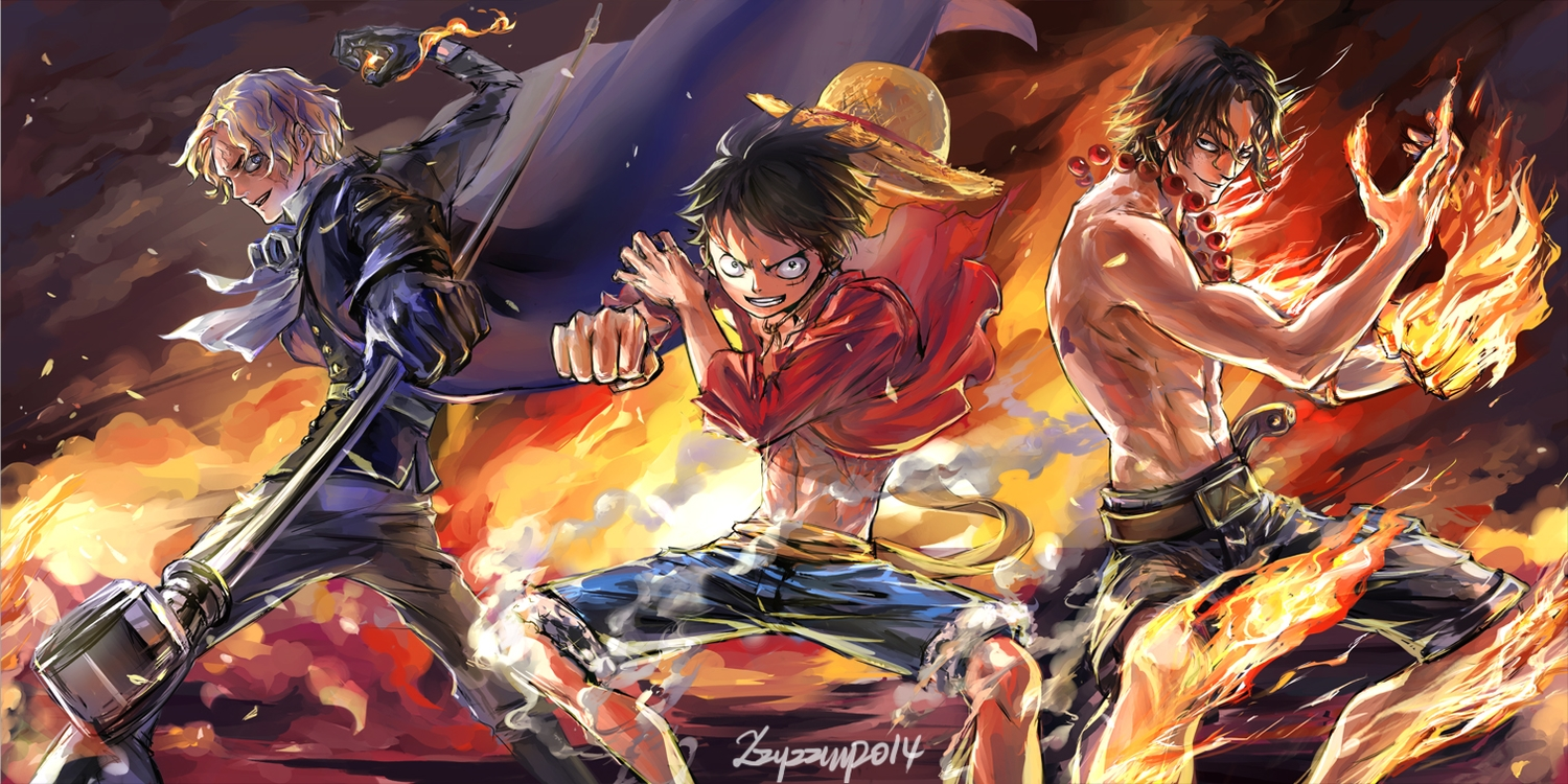 all_male black_hair blonde_hair cape fire hat male monkey_d_luffy one_piece portgas_d_ace sabo signed weapon zzyzzyy