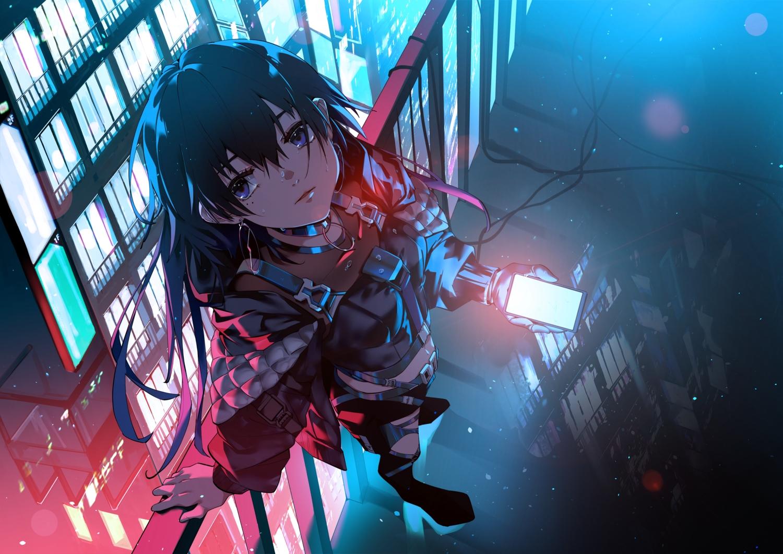 black_hair blue_eyes building city kamitsubaki_studio koko_(vtuber) long_hair night phone polychromatic rooftop shiomi_(lowrise)