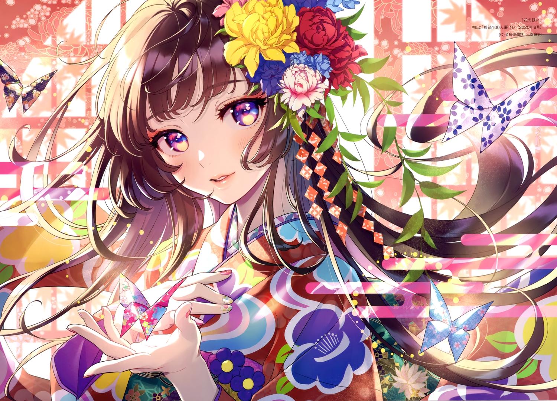 brown_hair butterfly close flowers japanese_clothes kimono long_hair morikura_en original paper purple_eyes scan watermark