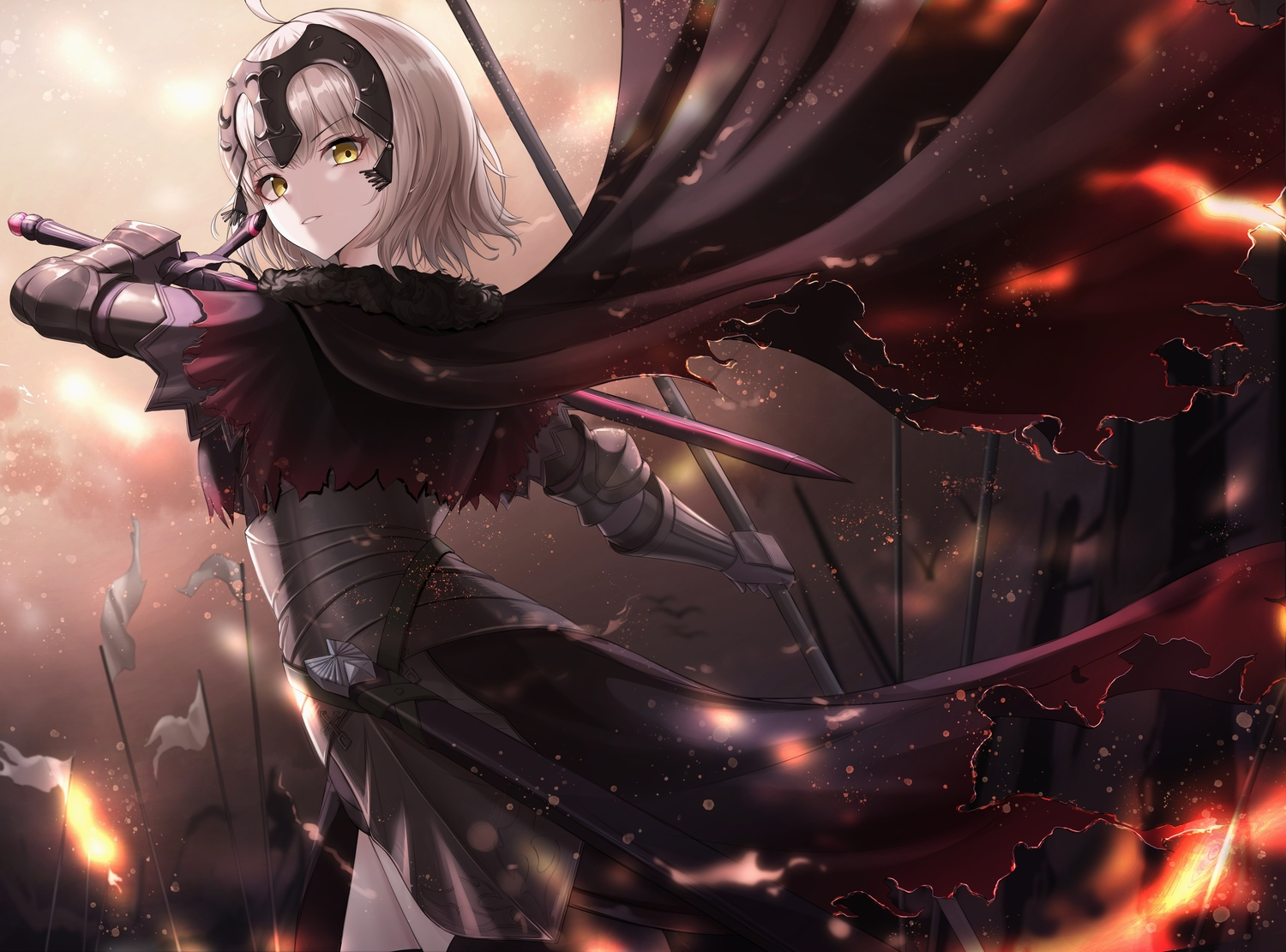 armor blonde_hair cape cow-ring fate/grand_order fate_(series) fire headdress jeanne_d'arc_alter jeanne_d'arc_(fate) short_hair sword weapon yellow_eyes