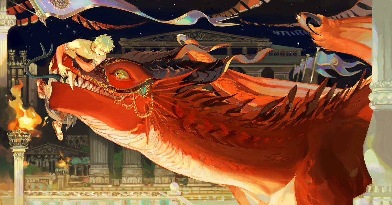 all_male bakugou_katsuki blonde_hair boku_no_hero_academia building dragon fire kirishima_eijirou male night short_hair stars taro-k topless