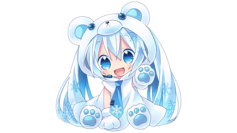 blue_eyes blue_hair chibi gloves hatsune_miku hoodie kagami_leo long_hair microphone tie twintails vocaloid white yuki_miku