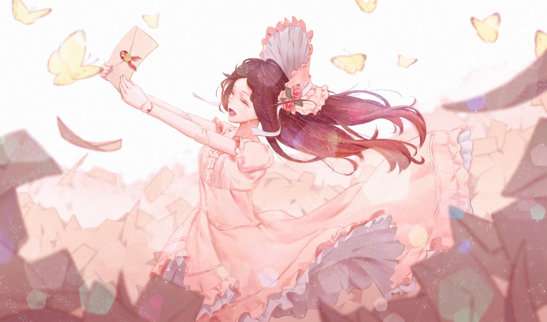 bibido brown_hair butterfly crying doll dress headdress lolita_fashion long_hair original paper tears