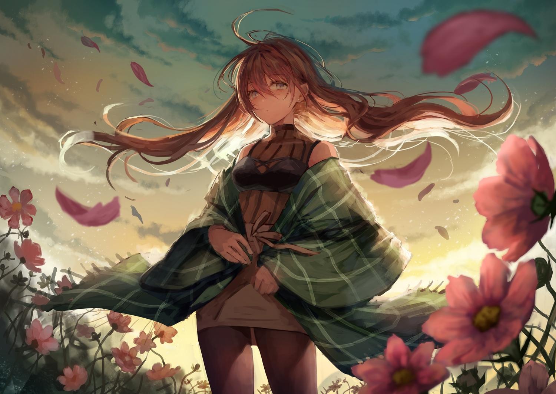 autumn blue_eyes brown_hair clouds flowers grass long_hair original pantyhose sky sunset tamarashi
