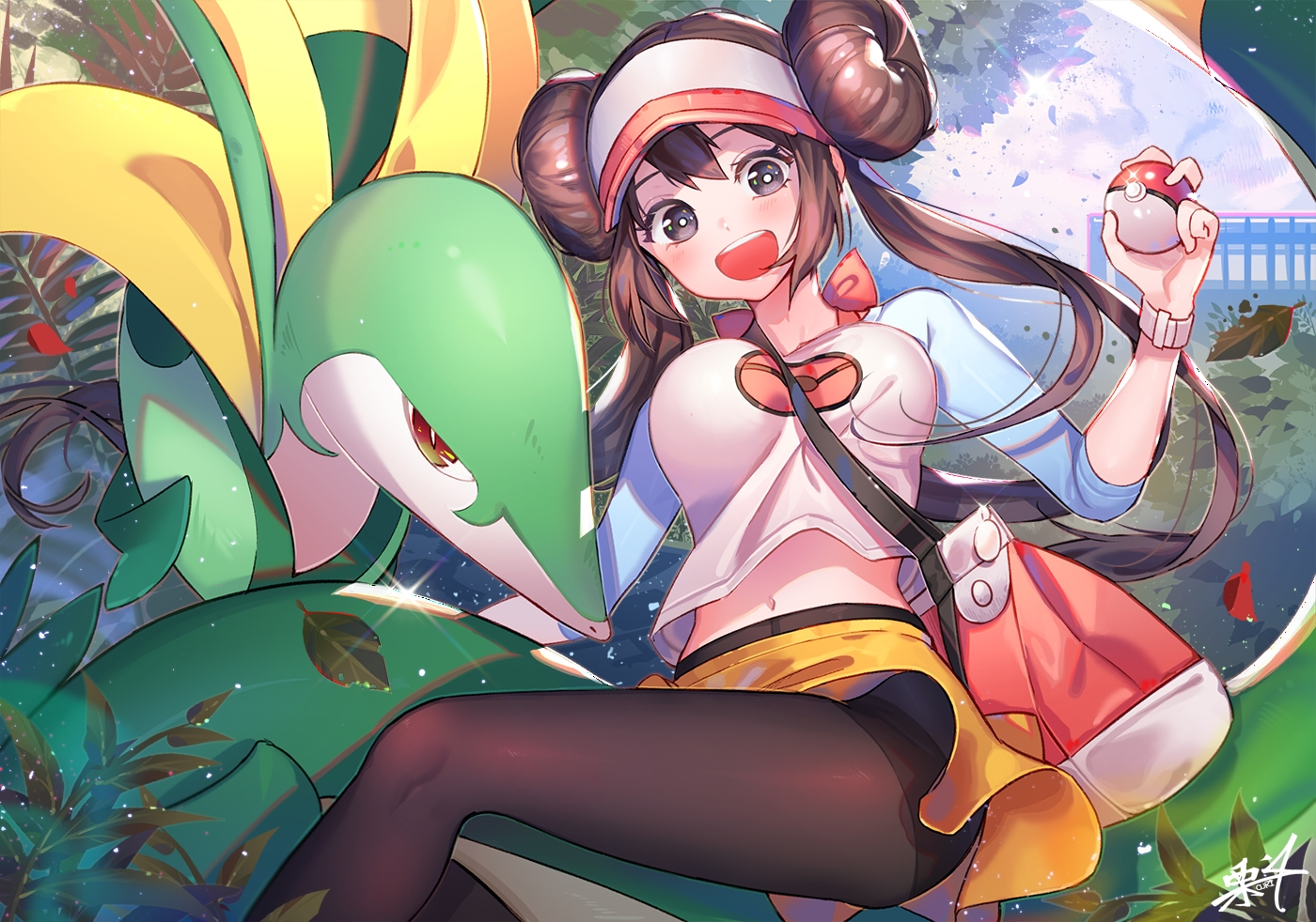 black_eyes breasts brown_hair kuri_choko long_hair mei_(pokemon) navel pantyhose pokemon serperior signed skirt twintails