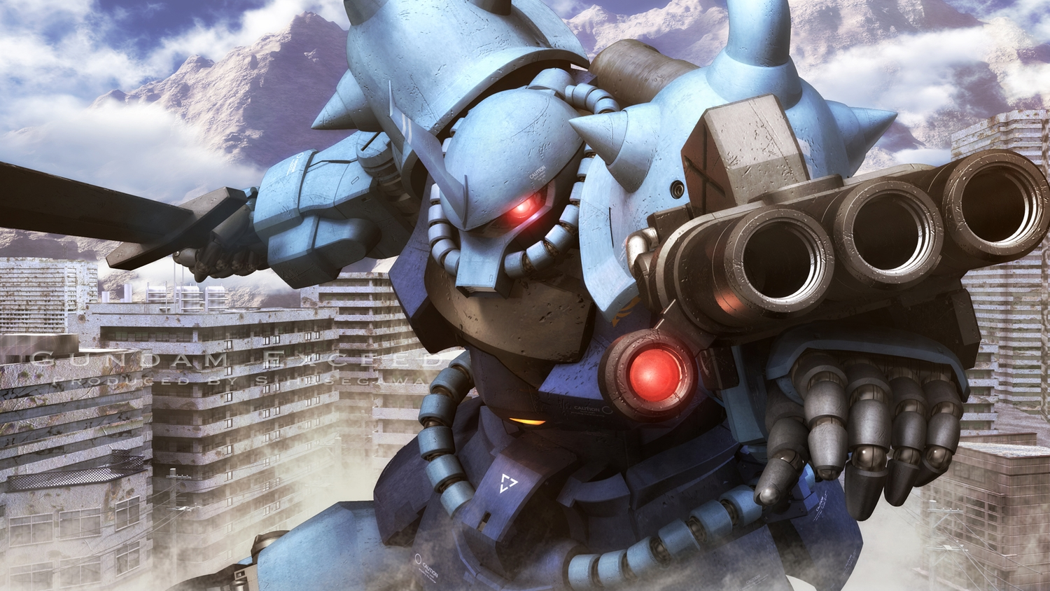 building city clouds mecha mobile_suit_gundam s.hasegawa sky sword watermark weapon