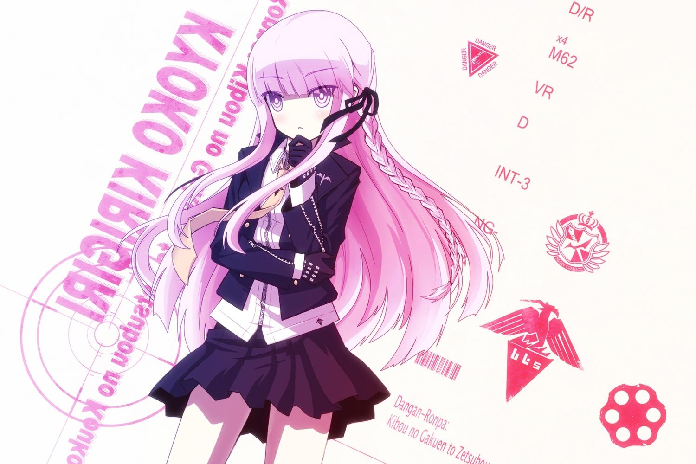 braids dangan-ronpa gloves kirigiri_kyouko long_hair purple_eyes purple_hair ribbons skirt tie uiu