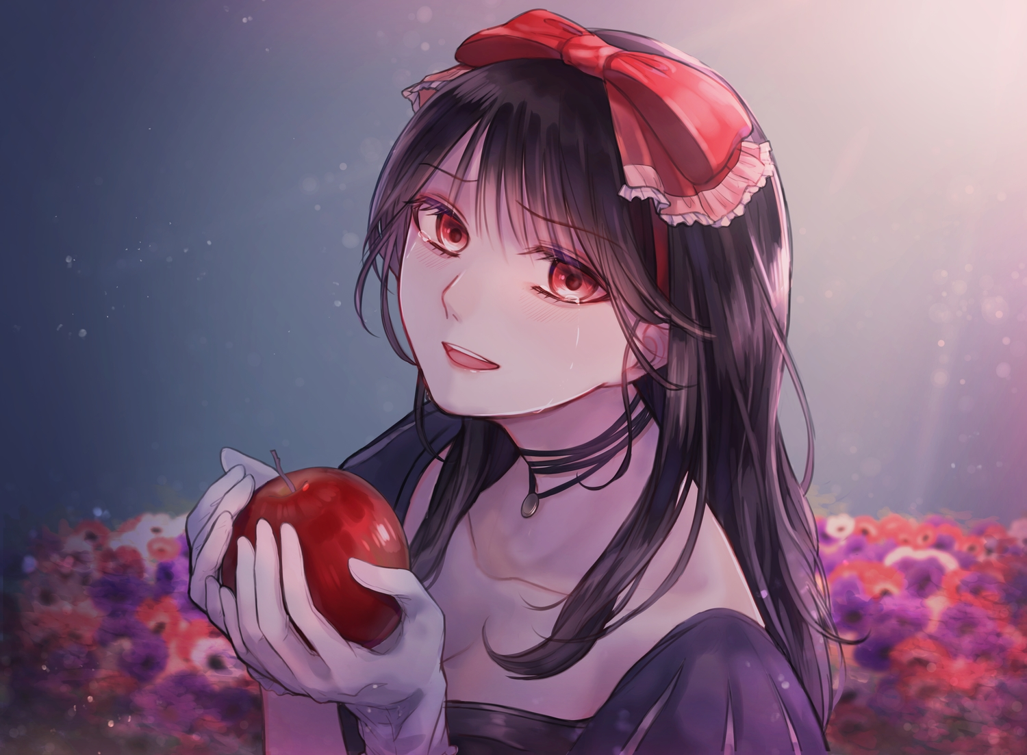 apple black_hair bow choker crying food fruit gloves gradient long_hair necklace original red_eyes sumisumi tears
