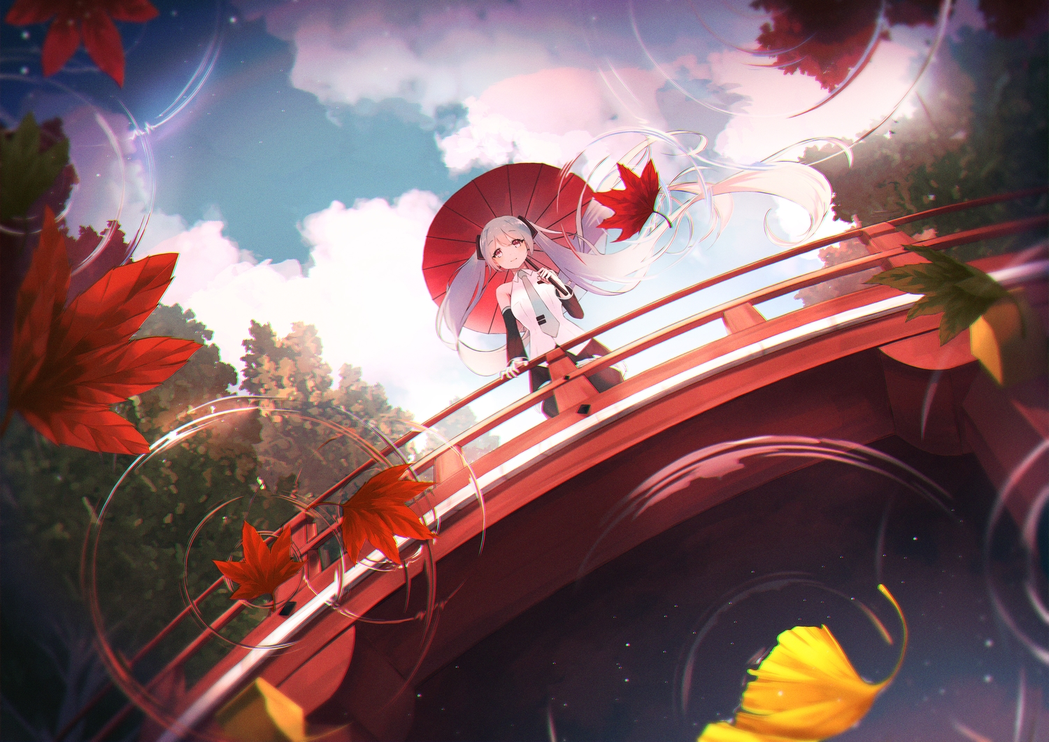 autumn hatsune_miku leaves reflection twintails vocaloid water worl_a