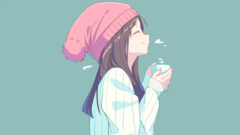 blue brown_hair drink hat itachi_kanade long_hair original
