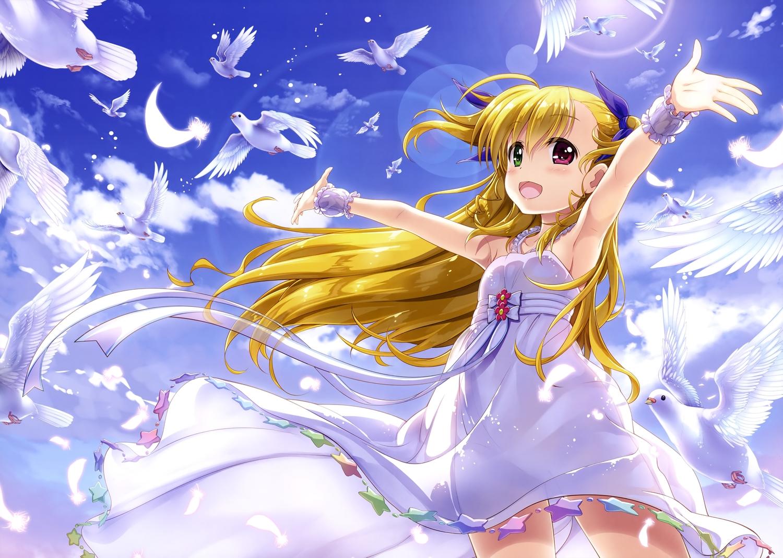 animal bicolored_eyes bird blonde_hair blush clouds dress feathers fujima_takuya loli long_hair mahou_shoujo_lyrical_nanoha mahou_shoujo_lyrical_nanoha_vivid ponytail scan sky summer_dress takamachi_vivio wristwear