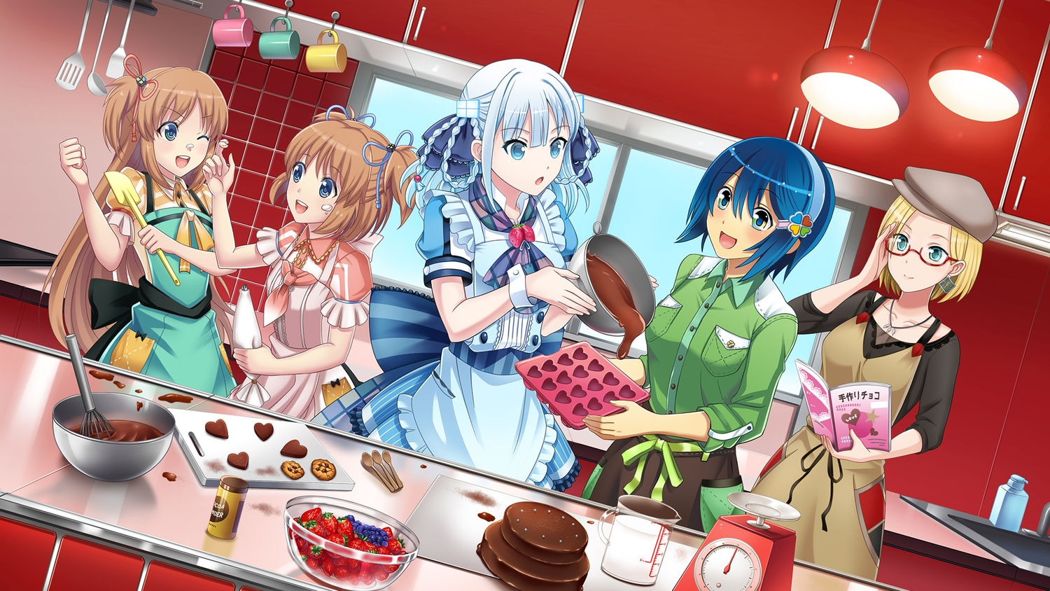 apron aqua_eyes blonde_hair blue_hair book brown_hair candy chocolate claudia_madobe food fruit glasses green_eyes group hat headband long_hair madobe_ai madobe_nanami madobe_touko madobe_yuu maid microsoft os-tan ponytail short_hair strawberry tagme_(artist) twins twintails valentine white_hair windows