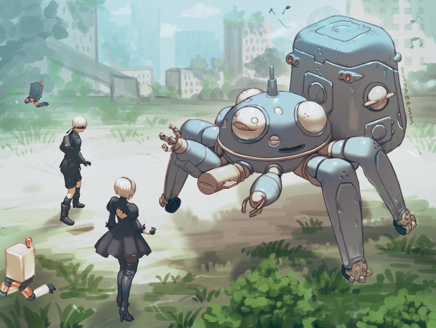 blindfold boots crossover dress elbow_gloves ghost_in_the_shell gloves headband kneehighs komakuchi_mame male music nier nier:_automata pod_(nier:_automata) robot short_hair shorts signed tachikoma thighhighs white_hair yorha_unit_no._2_type_b yorha_unit_no._9_type_s