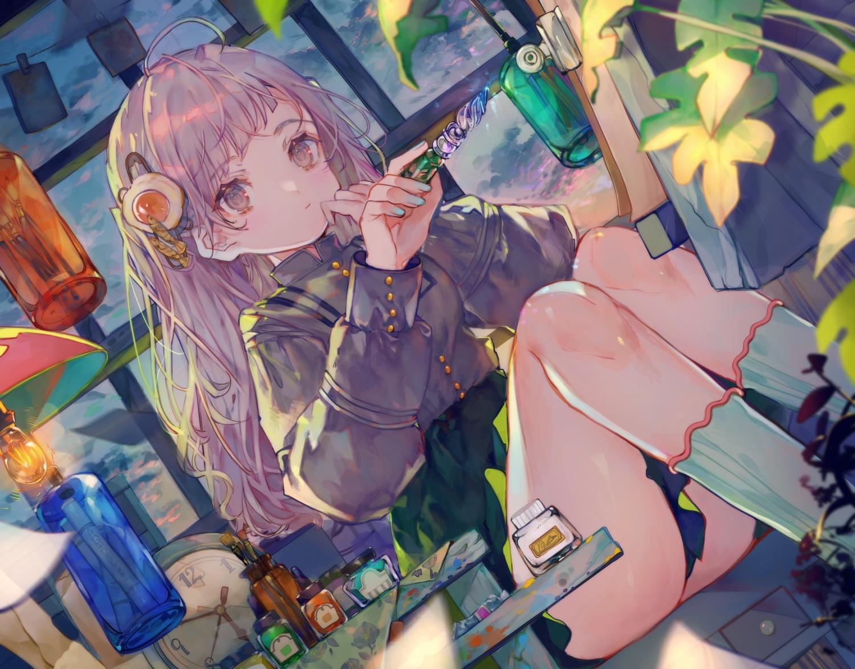 cha_goma clouds kneehighs leaves long_hair original purple_eyes purple_hair shirt skirt sky socks
