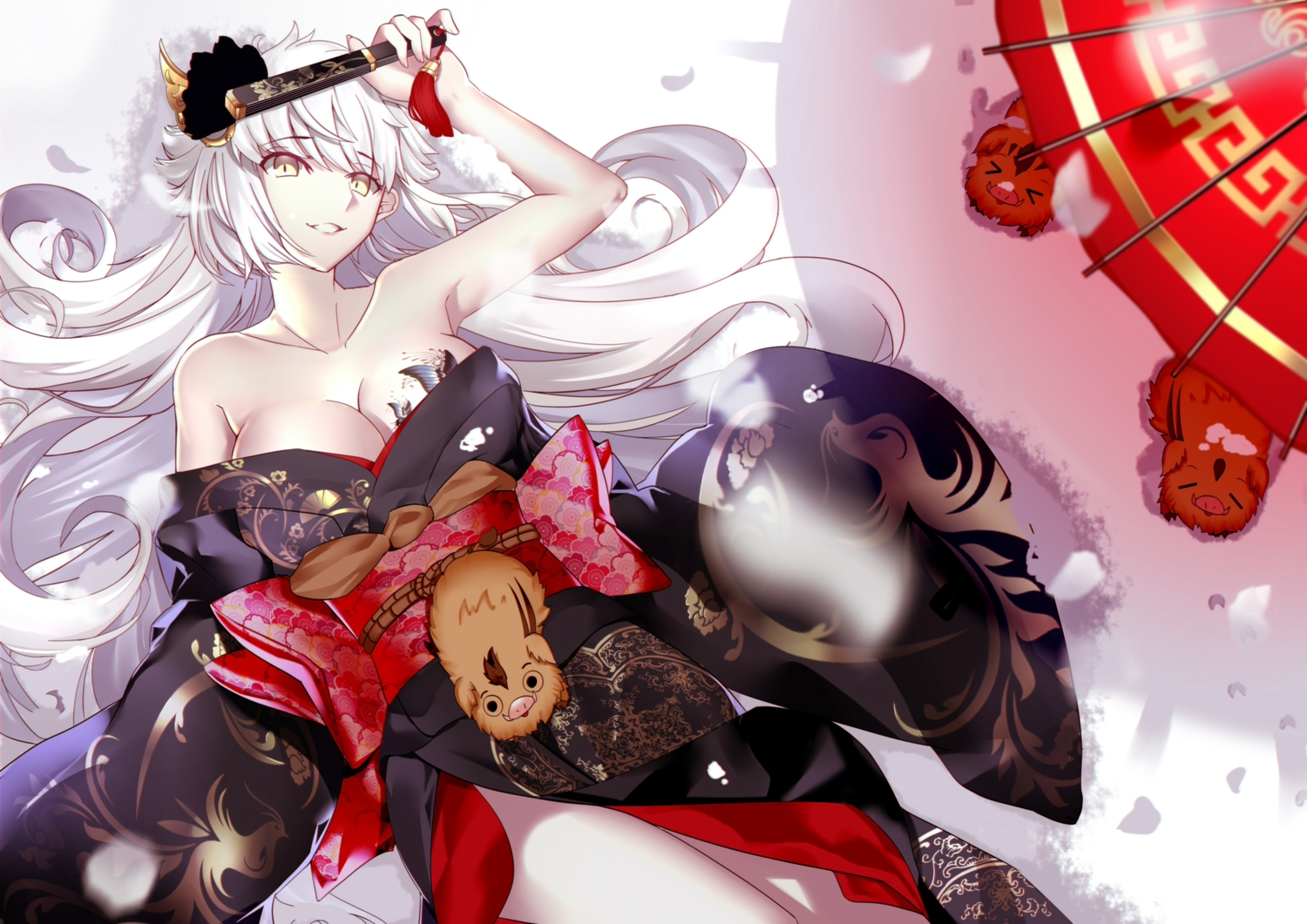 animal breasts cleavage fan fate/grand_order fate_(series) japanese_clothes jeanne_d'arc_alter jeanne_d'arc_(fate) kimono long_hair no_bra paperfinger snow tattoo umbrella white_hair yellow_eyes