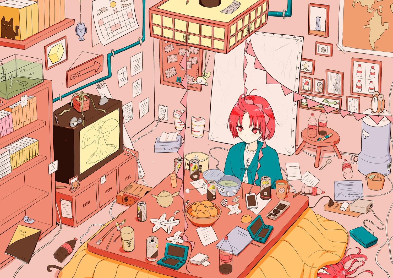 2girls aliasing blush coraman drink food fruit game_console japanese_clothes kotatsu orange_(fruit) original phone red_eyes red_hair short_hair sleeping