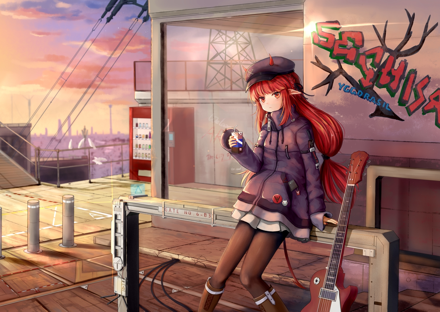 arknights boots braids clouds drink graffiti guitar hat horns industrial instrument long_hair pantyhose phone pointed_ears red_eyes red_hair sechka skirt sky sunset vigna_(arknights)