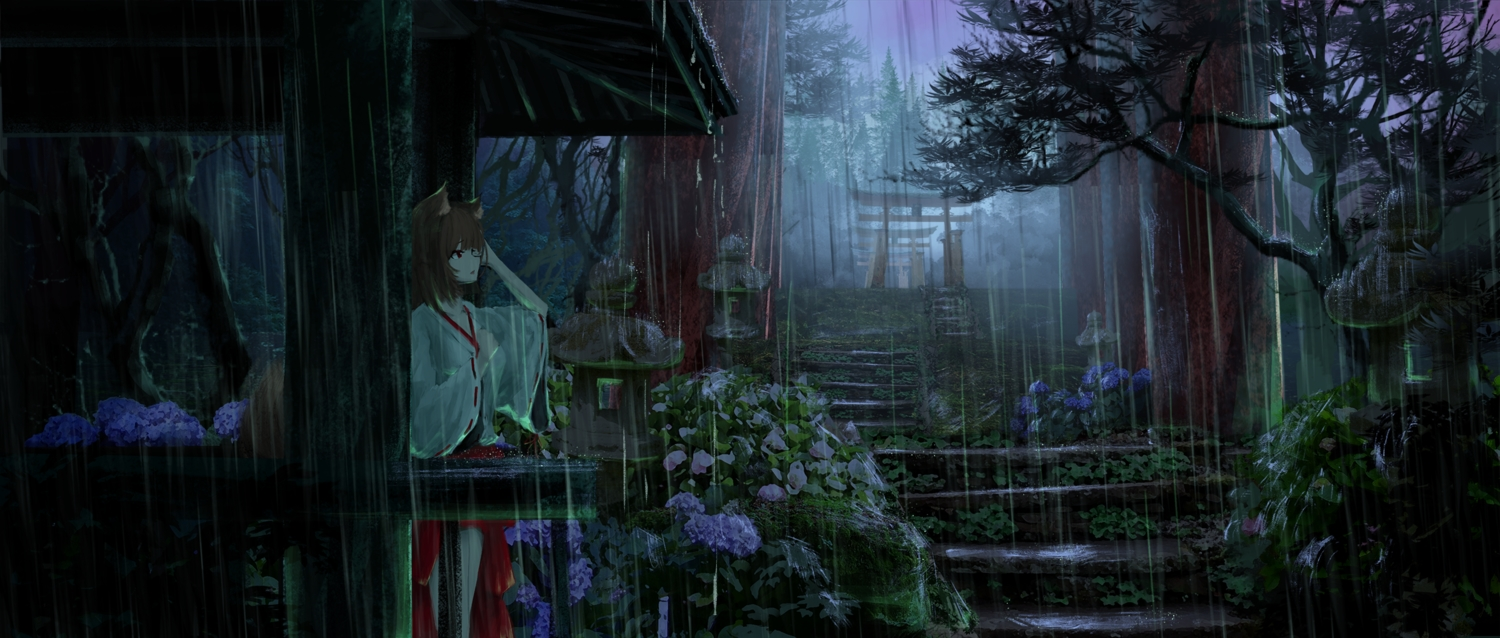 animal_ears brown_hair flowers forest foxgirl japanese_clothes miko moni_(moni_chon) original rain red_eyes shrine stairs tail torii tree water