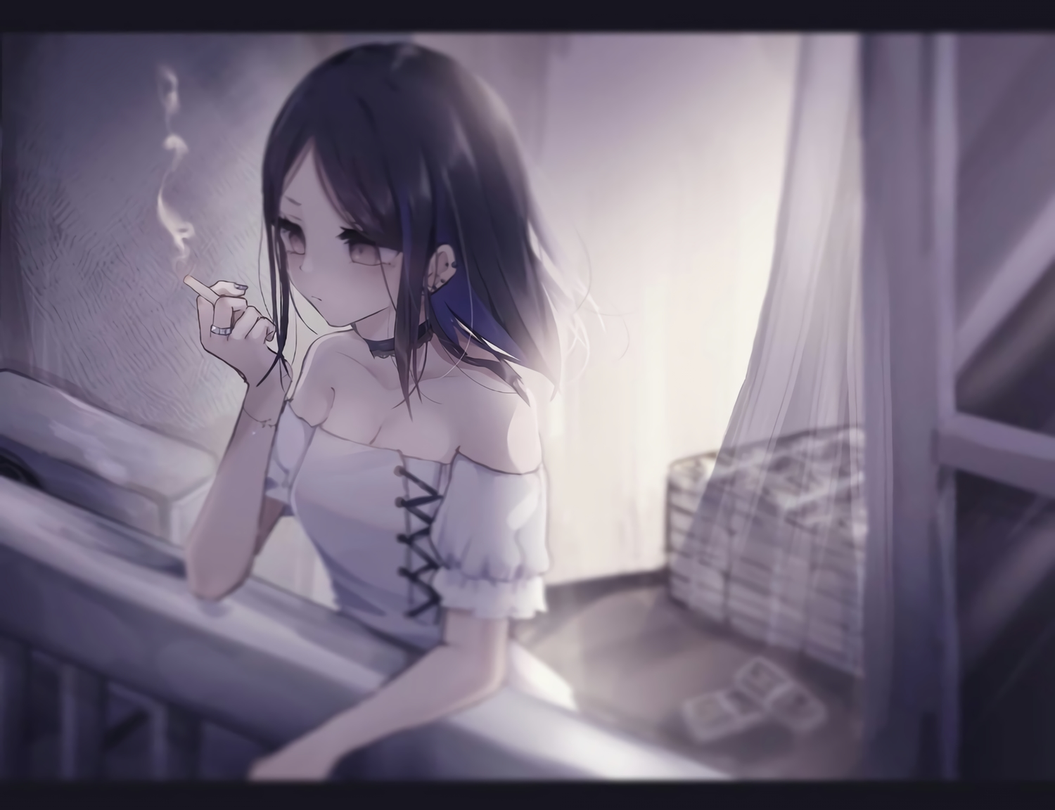 black_hair breasts choker cigarette cleavage gray_eyes monochrome original tsuruse waifu2x