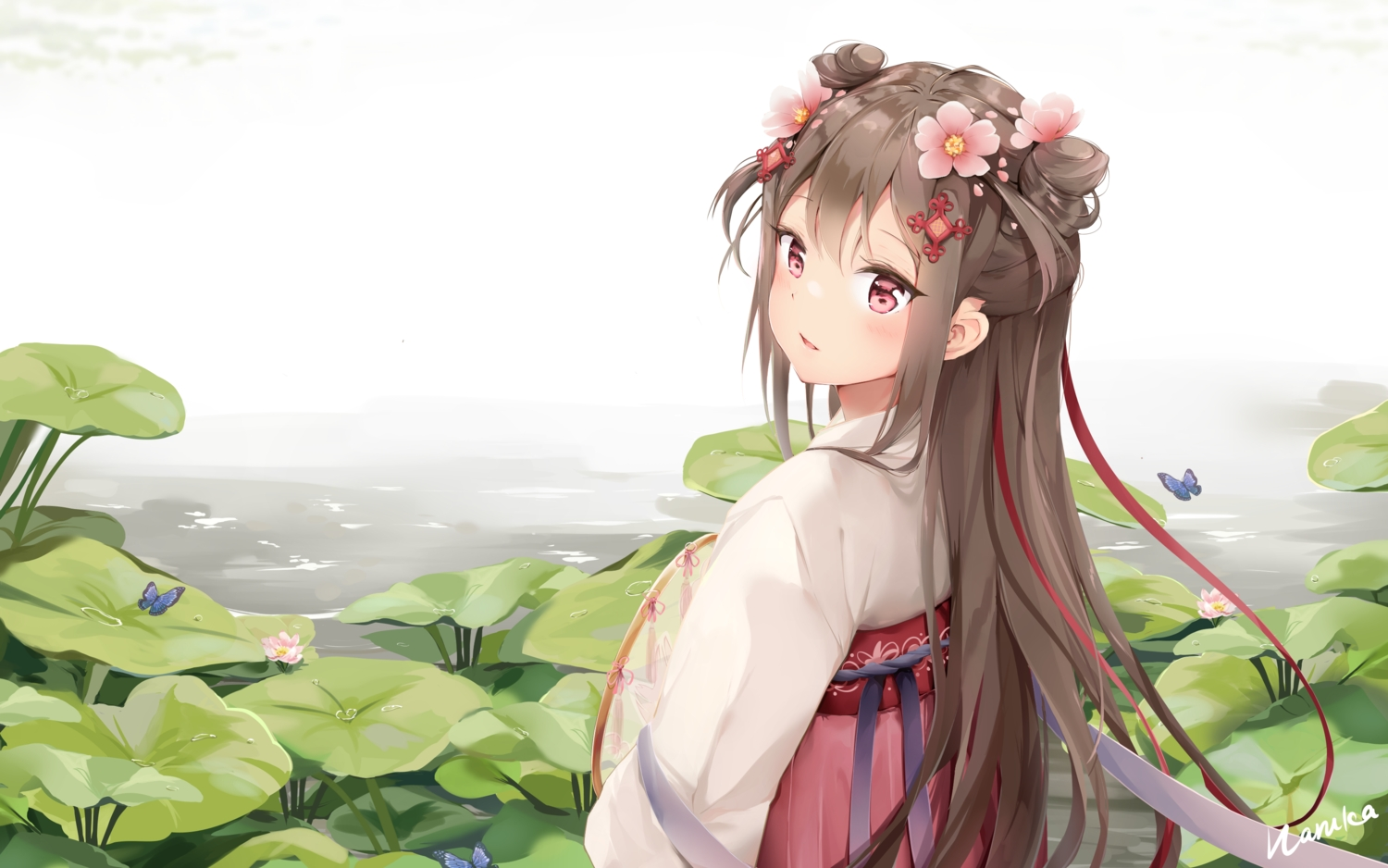 anthropomorphism brown_hair butterfly chinese_clothes flowers girls_frontline haruka_poi leaves long_hair pink_eyes signed suomi_(girls_frontline) water