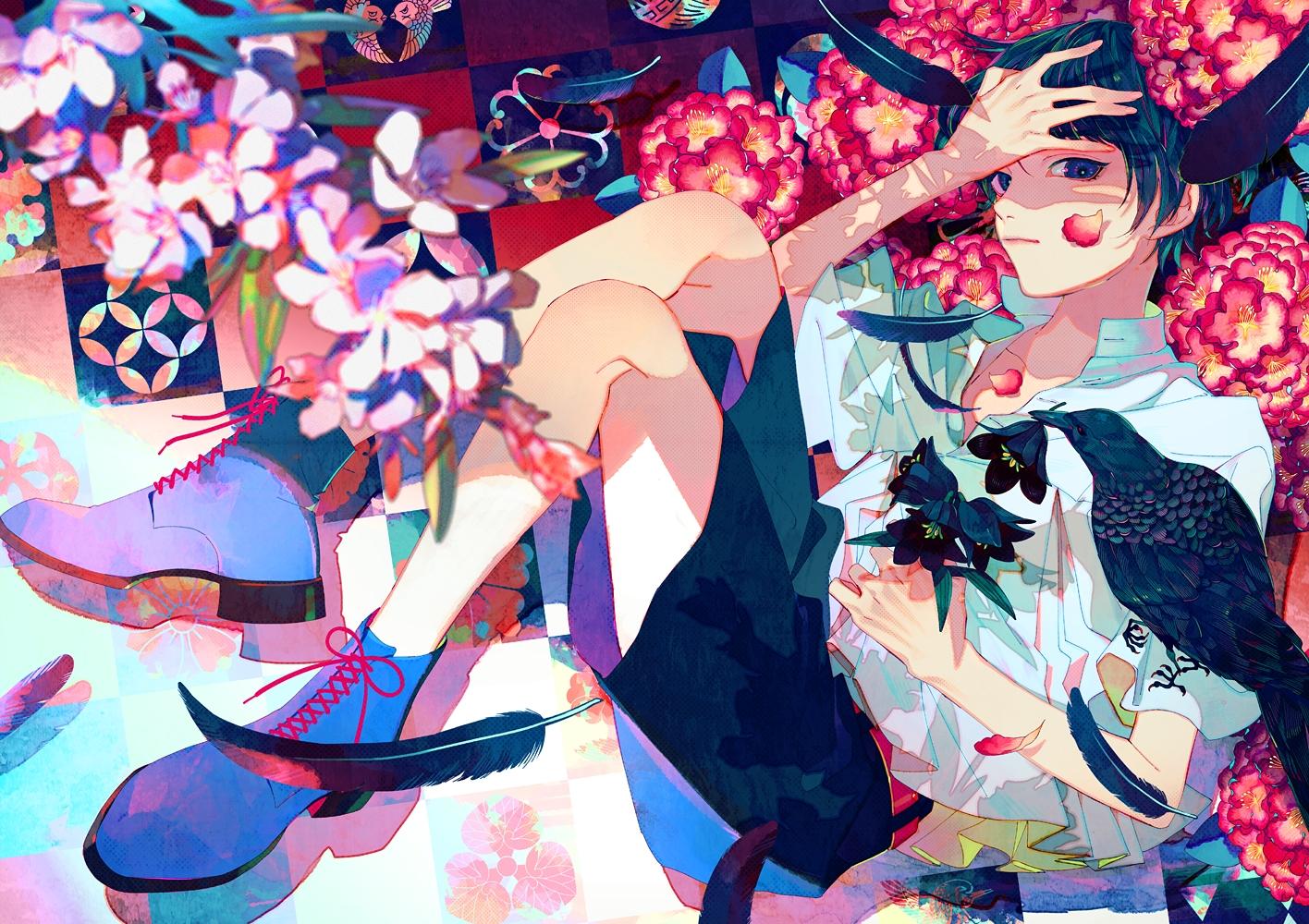 akiakane all_male animal bird feathers flowers green_hair male original petals short_hair