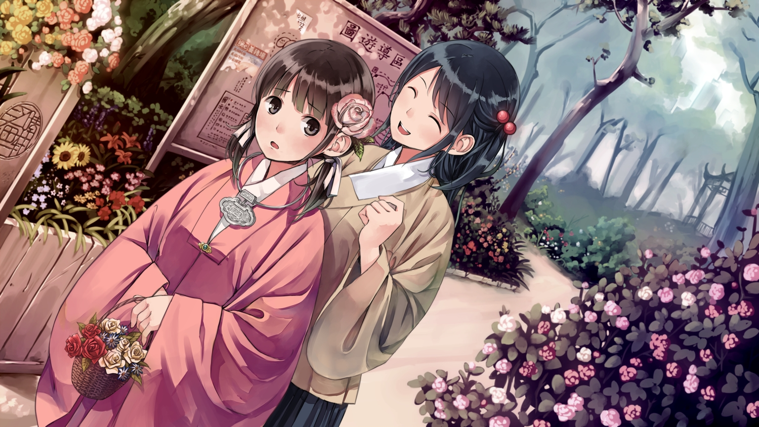 2girls black_eyes black_hair brown_hair chinese_clothes flowers grass original pvmivs ribbons tree twintails