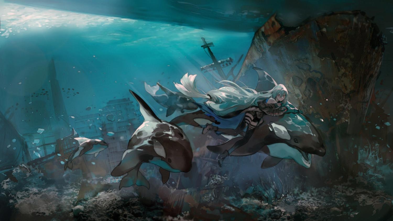 animal arknights azalea bubbles fish ruins skadi_(arknights) underwater water