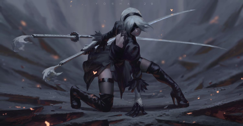 boots guweiz katana nier nier:_automata realistic short_hair sword thighhighs weapon white_hair yorha_unit_no._2_type_b