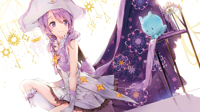 anmi bow cropped dress gloves hat houkago_no_pleiades kneehighs logo nanako_(houkago_no_pleiades) pleiadian purple_eyes purple_hair scan twintails