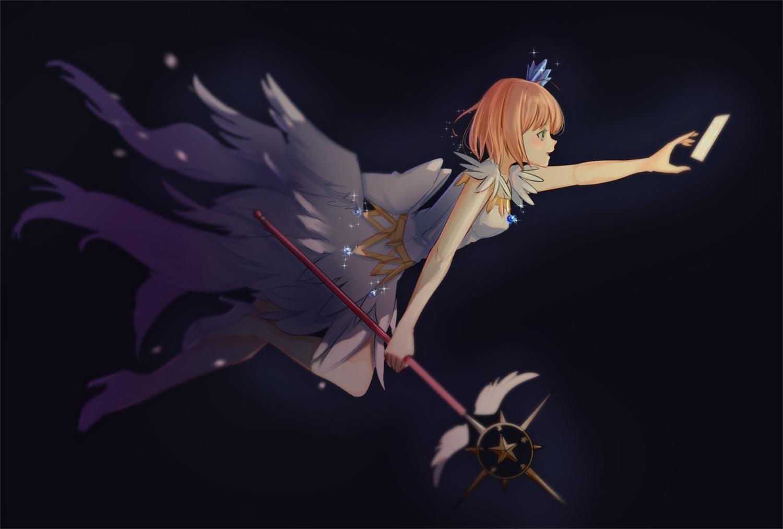 brown_hair card_captor_sakura dress green_eyes kinomoto_sakura ribbons samsafe short_hair staff wings