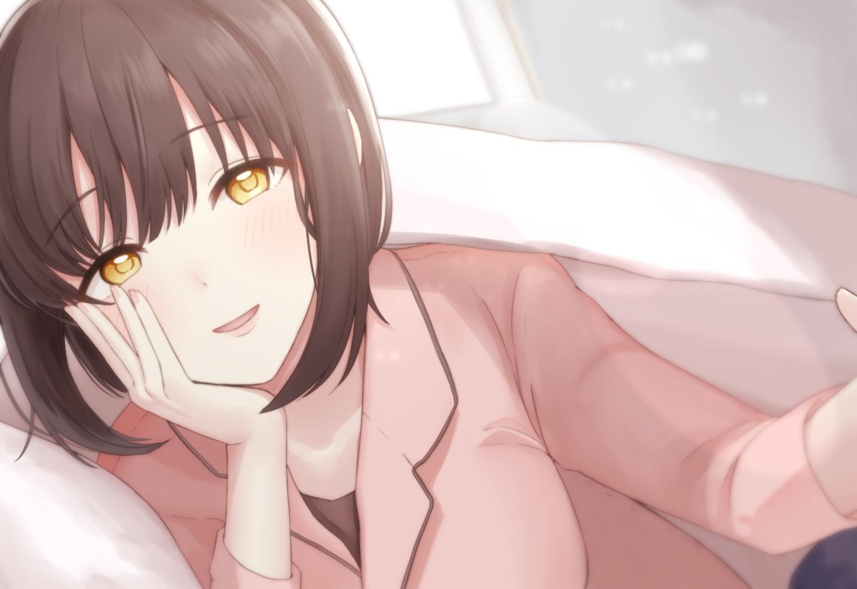 bed blush brown_hair close idolmaster idolmaster_cinderella_girls monotiina short_hair takafuji_kako yellow_eyes