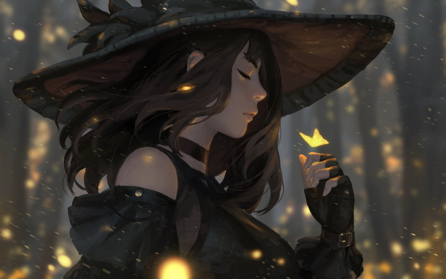 brown_hair butterfly guweiz hat original realistic witch