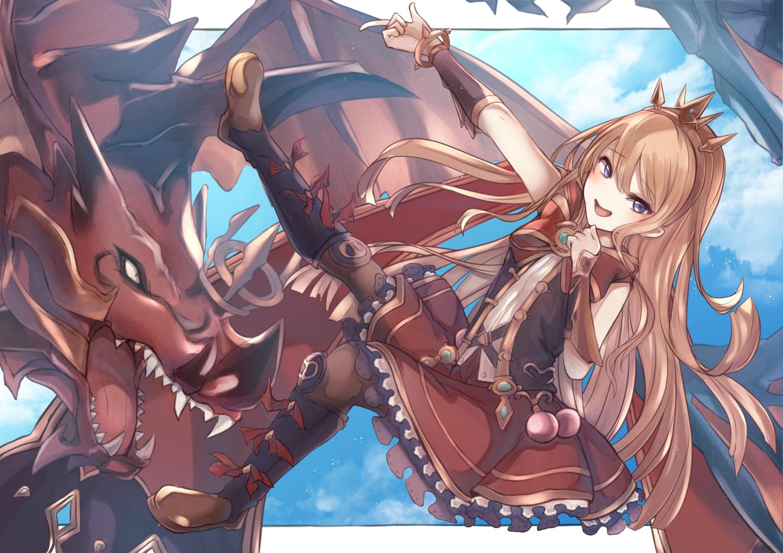 blue_eyes boots brown_hair cagliostro_(granblue_fantasy) dragon granblue_fantasy headdress long_hair tsyn