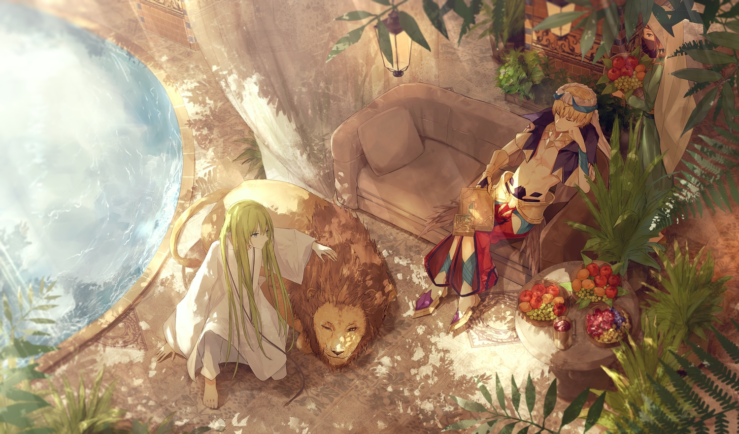 aliasing all_male animal apple barefoot couch enkidu fate/grand_order fate_(series) food fruit gilgamesh lion long_hair male short_hair thkani water