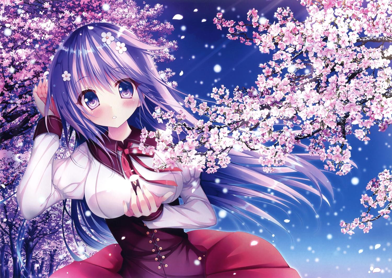 blush breasts cherry_blossoms flowers long_hair petals purple_eyes purple_hair scan skirt watagashi_yui