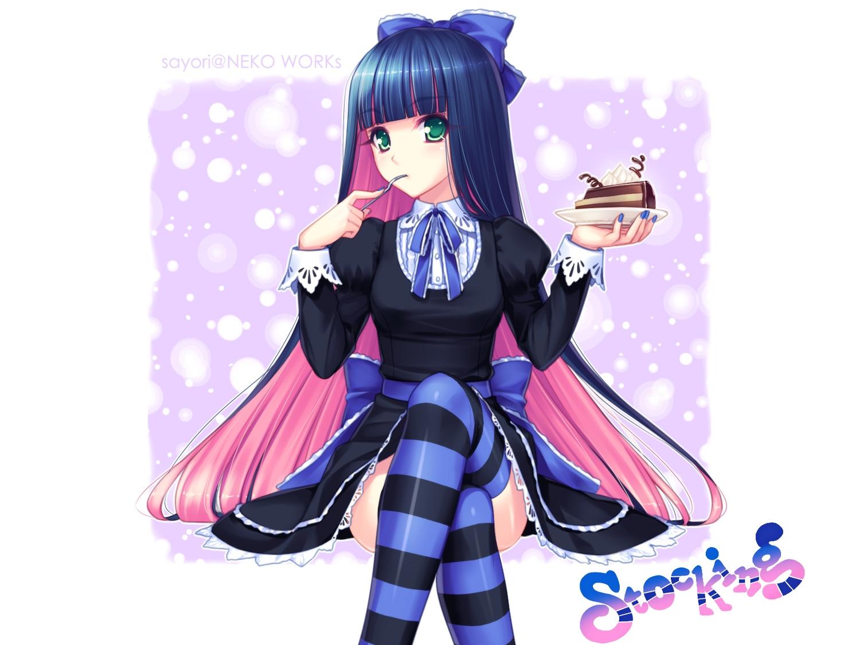 blue_hair bow cake dress food green_eyes long_hair panty_&_stocking_with_garterbelt photoshop pink_hair ribbons sayori stocking_(character) thighhighs