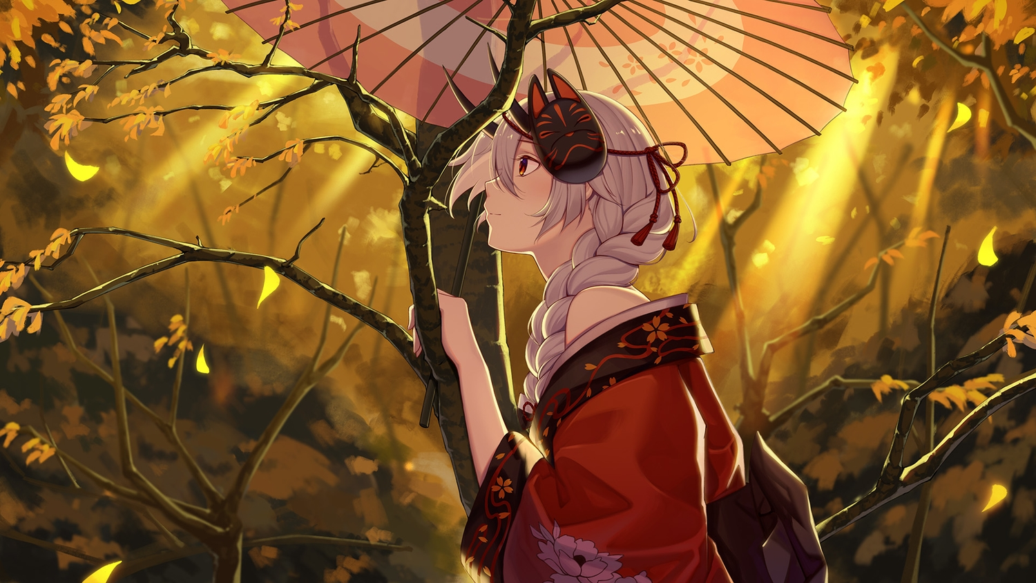autumn baseness braids fate/grand_order fate_(series) horns japanese_clothes leaves mask petals ponytail red_eyes tomoe_gozen tree umbrella white_hair