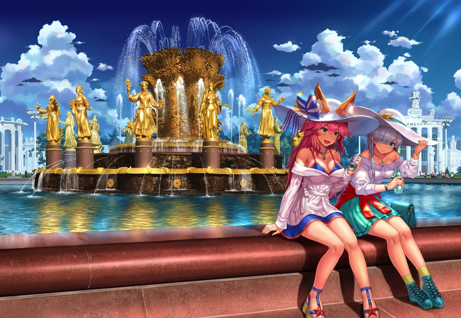 2girls anastasia_(fate/grand_order) animal_ears aqua_eyes boots breasts building cat_smile city cleavage clouds dress drink fang fate/grand_order fate_(series) foxgirl gray_hair hat long_hair necklace npcpepper pink_hair scenic skirt sky socks summer tamamo_no_mae_(fate) water wristwear yellow_eyes