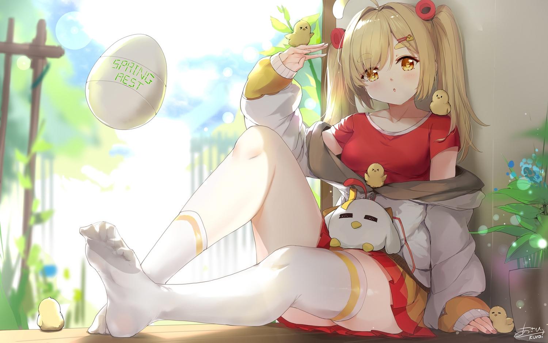 animal asahi_kuroi bird blonde_hair blush hoodie long_hair original signed skirt spring thighhighs twintails yellow_eyes