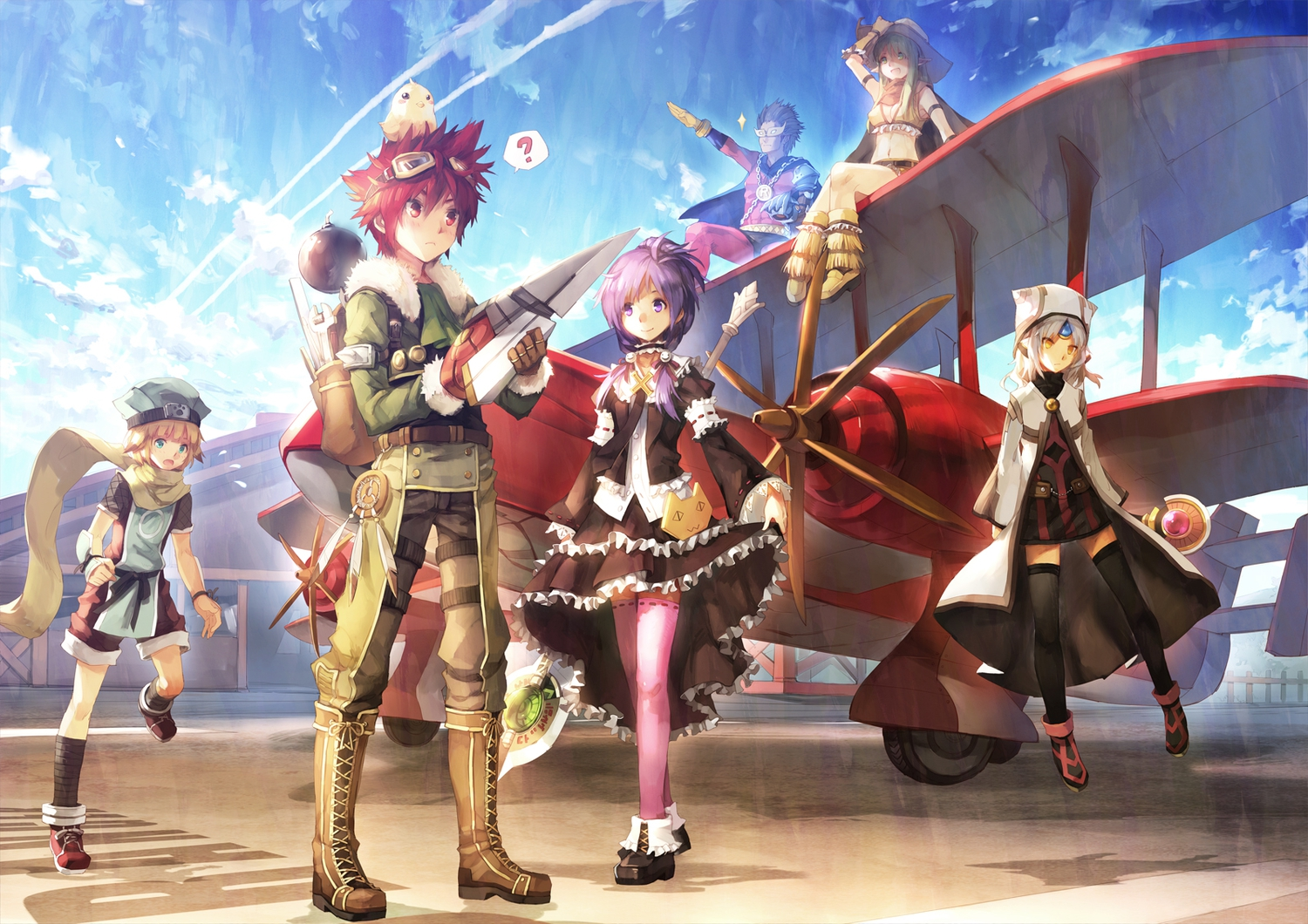 aircraft aisha_(elsword) animal azuma_reiji bird blonde_hair blue_eyes blush boots brown_hair chung_(elsword) clouds dress elsword elsword_(character) eve_(elsword) feathers goggles green_eyes green_hair group hat long_hair male mask pointed_ears purple_eyes purple_hair raven_(elsword) red_eyes red_hair rena_(elsword) ribbons scarf scorpion5050 short_hair shorts sky thighhighs weapon white_hair yellow_eyes zwei_ii