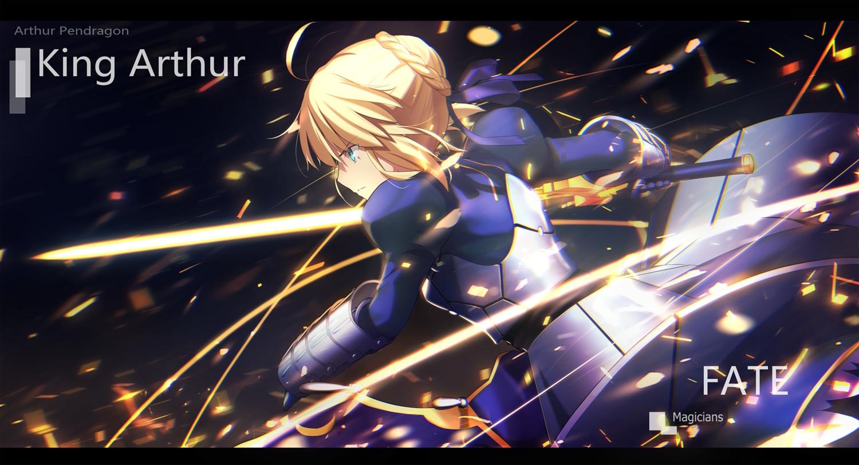 aqua_eyes armor artoria_pendragon_(all) blonde_hair braids fate_(series) fate/stay_night magicians ribbons saber short_hair sword watermark weapon