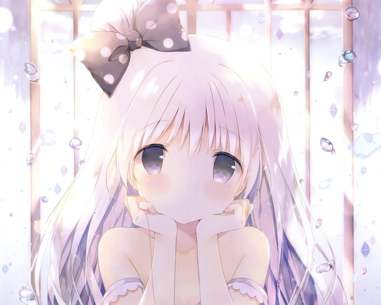 bow bubbles close cropped gray_eyes loli no_bra original scan shiratama white_hair