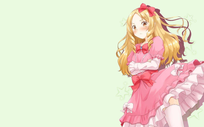 blonde_hair blush bow brown_eyes dress eromanga-sensei fujishima_shinnosuke green lolita_fashion long_hair thighhighs third-party_edit yamada_elf