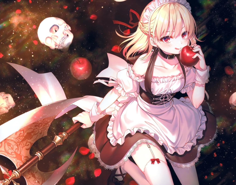 apple apron blonde_hair bones collar cropped food fruit maid original petals red_eyes scan short_hair skull thighhighs toosaka_asagi weapon
