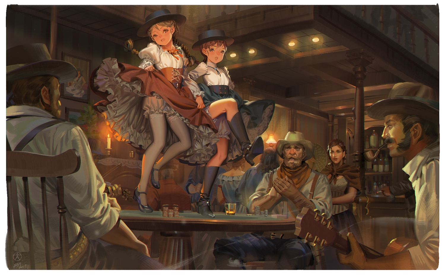alphonse bloomers boots braids brown_hair cigarette drink group guitar hat instrument loli long_hair male original pantyhose ponytail scarf signed skirt_lift smoking twintails violin