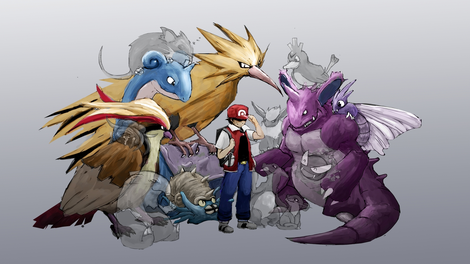 all_male charmeleon crying dafuq-izdis-schitt drowzee farfetch'd flareon gastly gloom gray group hat lapras male nidoking omastar pidgeot pokemon raticate rattata red_(pokemon) tears venomoth zapdos