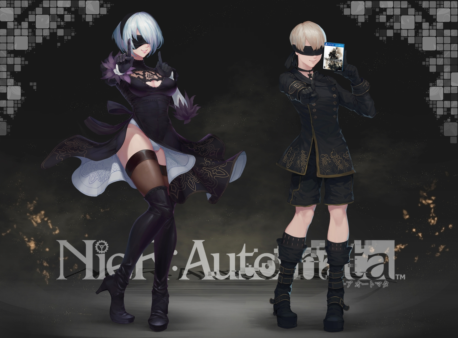 blindfold blonde_hair boots breasts choker cleavage dress gloves headband logo male nier nier:_automata ptdoge short_hair shorts thighhighs upskirt white_hair yorha_unit_no._2_type_b yorha_unit_no._9_type_s