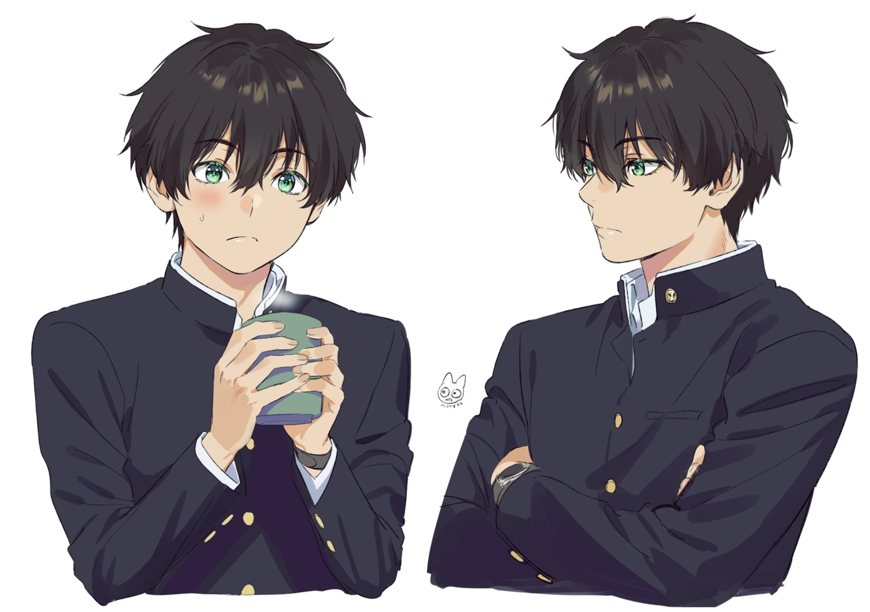 all_male black_hair blush drink green_eyes hyouka male mery_(apfl0515) oreki_houtarou school_uniform short_hair signed wristwear