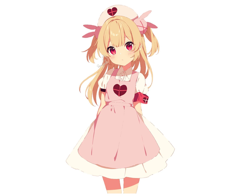 apron blonde_hair blush headdress long_hair mamyouda natori_sana nurse red_eyes sana_channel signed twintails uniform white
