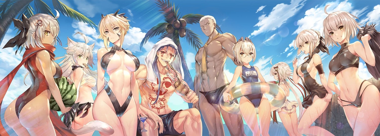 animal_ears artoria_pendragon_(all) artoria_pendragon_(lancer) artoria_pendragon_(lancer)_alter ass atalanta_alter atalanta_(fate) ball bell blonde_hair blue_hair breasts cameltoe catgirl clouds cu_chulainn cu_chulainn_alter_(fate/grand_order) dark_skin drink emiya_alter fate/grand_order fate_(series) food fruit glasses group jeanne_d'arc_alter jeanne_d'arc_alter_santa_lily jeanne_d'arc_(fate) khanshin loli long_hair male mysterious_heroine_x mysterious_heroine_x_alter navel okita_souji_alter okita_souji_(fate) popsicle red_eyes ribbons saber saber_alter scarf school_swimsuit short_hair sky swim_ring swimsuit tattoo tie towel tree watermelon wet white_hair wink yellow_eyes